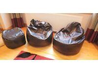 Bean bags x 2 plus bean bag pouffe in high quality Faux Leather