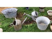 Galvanised traditional planters/troughs