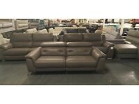 Ex-display Monument grey leather electric recliner 3 seater sofa