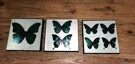 Lovely set of 3 small butterfly canvas prints