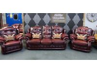 Fantastic Mansfield Chesterfield 3 Seater Sofa & 2 Matching in Oxblood Leather - UK Delivery