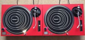 2 X Technics SL-1210 MK2 Turntable With Custom Matte Red Covers