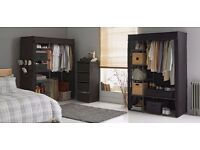 Metal and Polycotton double and Triple Wardrobe - Black & Cream New box