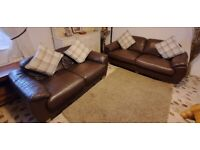 Brown leather 3 seater and 2 seater compact leather sofas very comfortable