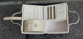 Jewellery Box/Carry Case - Cream with Beige Snake Skin Effect Trim