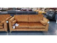 Ex-display Idol turmeric gold fabric 3 seater sofa
