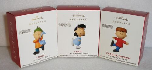 2020 Hallmark MINIATURE ORNAMENTS - THE PEANUTS GANG - CHARLIE BROWN LUCY LINUS