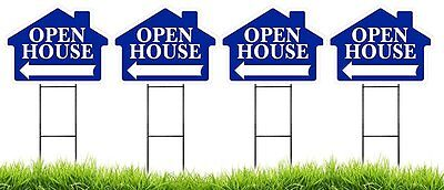 Large 18x24 Open House - Blue House Shaped Sign Kit With Stands - 4 Pack