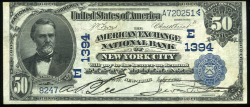 $50.00 1902 Date Back Blue Seal American Exchange Bank New York City NY Ch 1394