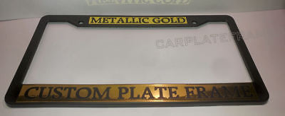 (GOLD METALLIC TAG HOLDER CUSTOM TEXT WORDING CUSTOMIZED License Plate Frame)