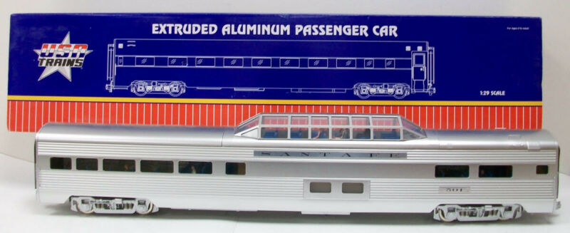 USA Trains 31006 G Santa Fe Aluminum Vista Dome Car - Metal Wheels