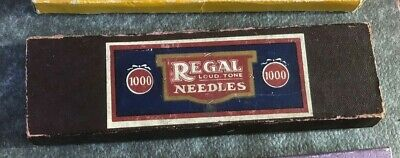 Regal original loud tone box of 5 tins of Gramophone needles Made in England
