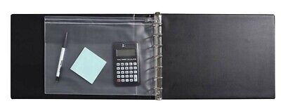 7 Ring Business Binder 3-on-a-page Zippered Leather Check Book Vinyl Black