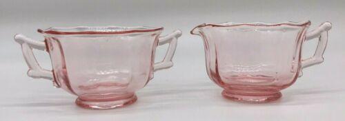 Pink Depression Glass Creamer & Sugar Cambridge Decagon