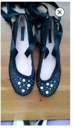 Embellished tie up flats from Topshop. Size 6
