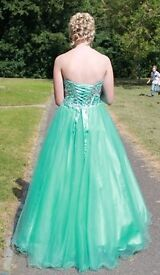 Teal coloured prom dress, fits female UK size 8/10, 170cm. Only worn once, excellent condition