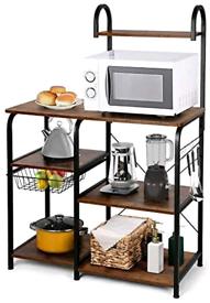 Brand new Amzdeal Kitchen Baker's Rack Multifunctional Wooden& Iron Ov