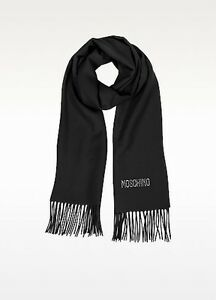 Moschino Crystals Signature Wool Fringed Scarf (Marron color)