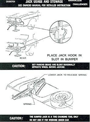 72 73 74 Cuda/challenger Jack Instruction Decal