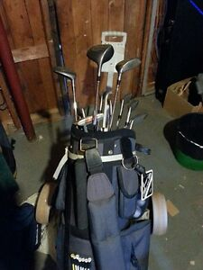 Right Handed Golf Clubs, Bag, Pull Cart for sale