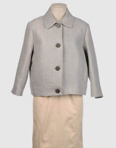 new BOXY GREY WOOL/LINEN JACKET by designer CLAUDIA STRATER uk12 us8 eu44 £495