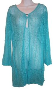 Turquoise Blue Lace Swimsuit Coverup - NEW - Medium