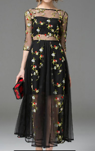Floral Embroidered Dress (Cocktail/Party/Grad)