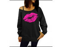 Hoodie/ Sweatshirt with pink lips print size m