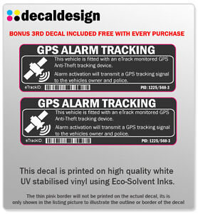 GPS tracking car alarm warning decal, 2 in a set anti-theft sticker (smoke grey)
