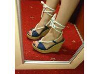 Blue wedge heels size 6