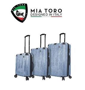 NEW MIA TORO 3 PC LUGGAGE SPINNER SUITCASE SET BLUE PARTICELLA 109261715