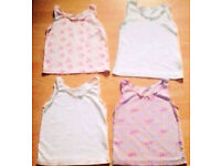 4 Assorted Child Girl Sleeveless Cami Camisole Vest Tops.Age 2-3 Years Old.