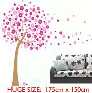 LARGE Pink Cherry Blossom Flower Tree Vinyl Wall Art Decal Stickers Removable