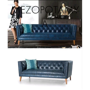 Everly Quinn New Blue Leather Sofa Couch