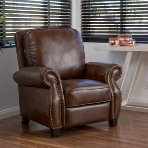 Mullins  Leather Recliner by Alcott Hill 2 Tone Brown NEW