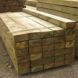 Wooden Railway sleepers 2.4m x 200mm x 100mm pressure treated(garden decking sleeper planter 8 foot
