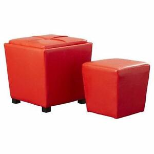Isaac 2 Piece Ottoman Set by Viv + Rae RED NEW