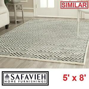 NEW SAFAVIEH 5' x 8' AREA RUG - 125204795 - MOSAIC HAND KNOTTED IVORY GREY CARPET CARPETS FLOORING DECOR RUGS ACCENTS...