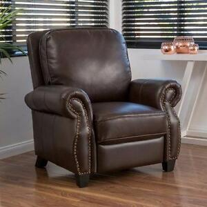 Mullins  Leather Recliner by Alcott Hill 2 DARK BROWN NEW