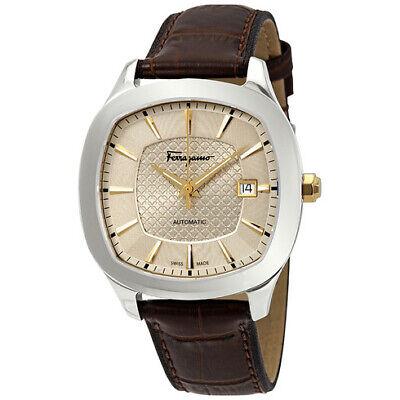 FERRAGAMO Time Champagne Guilloche Dial Automatic Men's Watch (Ship from USA)