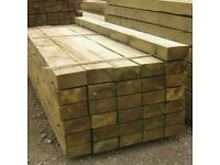WOODEN RAILWAY SLEEPERS 2.4m x 200mm x 100mm pressure treated( shed decking boards fencing 8 foot