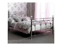 Metal Double Bed Frame with Crystal Balls