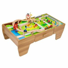 Kids Train and Car Table with Drawer