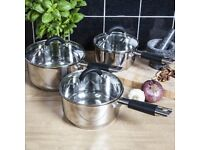 3 Piece stainless steel pan set cookware set as new beautifull condition