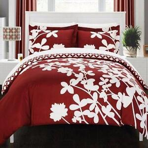 Calla Lily Reversible Duvet Cover Set by Chic Home QUEEN NEW