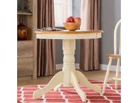 120cm diameter cream & wood effect circular dining table