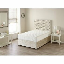 SAMEDAY-FAST TRACK DELIVERY King Size Crushed Velvet TOP OF THE RANGE MEMORYFOAM Full Set Double Bed