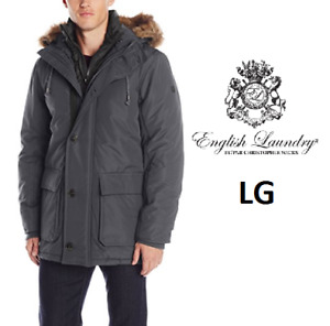 NEW MEN'S ENGLISH LAUNDRY HOODED PARKA WITH BIB IN CHARCOAL - LA