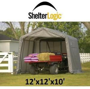 NEW SHELTERLOGIC SHED-IN-A-BOX 70443 202017653 12'x12'x8' STORAGE SHED GREY