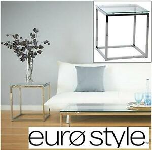 """NEW GLASS TOP EURO STYLE SIDE TABLE 18"""" Square END TABLE Clear GLASS Chromed Steel Base LIVING ROOM FURNITURE 101193536"""